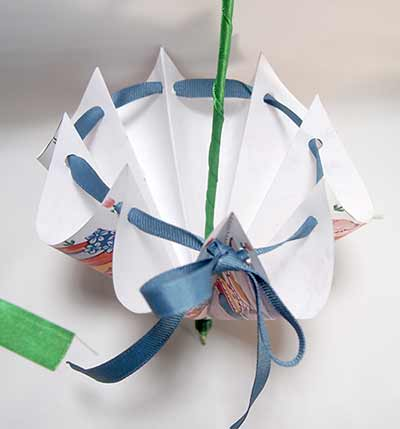 How to tie the ribbon to hold the Easter parasol in shape