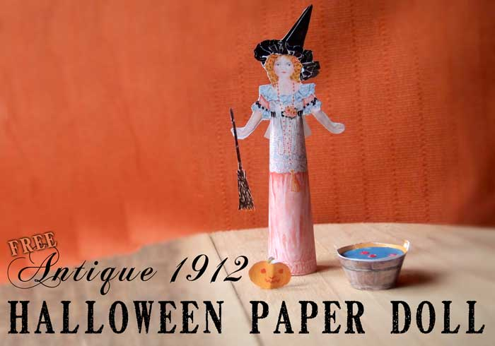 image about Free Printable Paper Crafts titled Totally free Antique Halloween Paper Doll - Printable Paper Craft