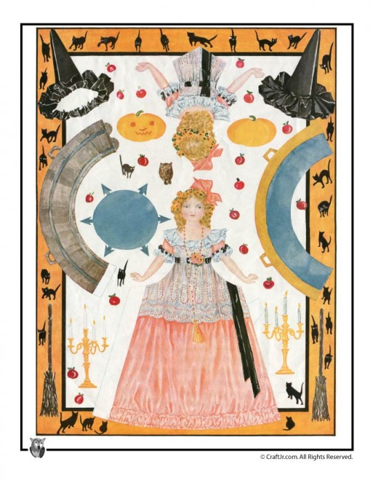 Vintage Halloween Printable Paper Doll - Giving Dolly a Hallowe'en Party by Carolyn Chester, 1912