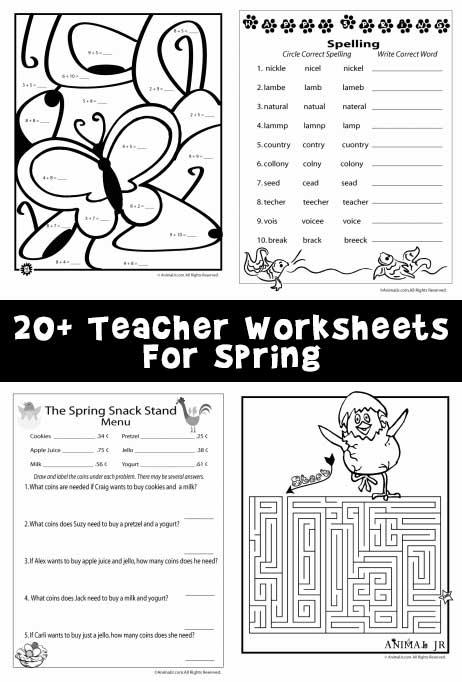 20+ Teacher Worksheets For Spring