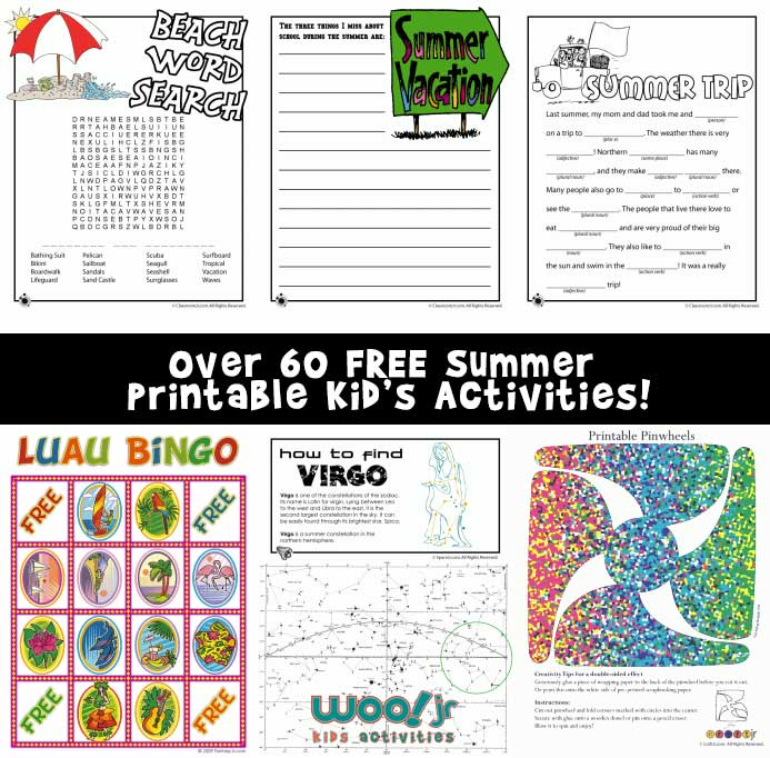 over 60 free summer printable activities for kids of all ages - Free Kids Printable Activities
