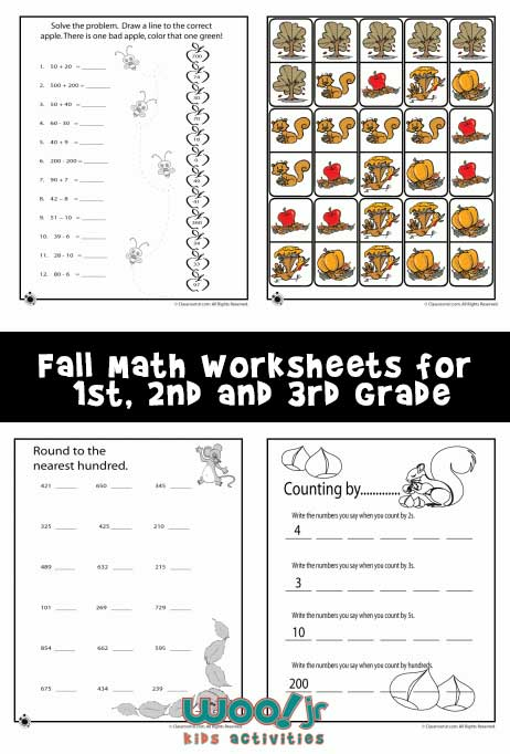fall math worksheets for st nd  rd grade  woo jr kids activities