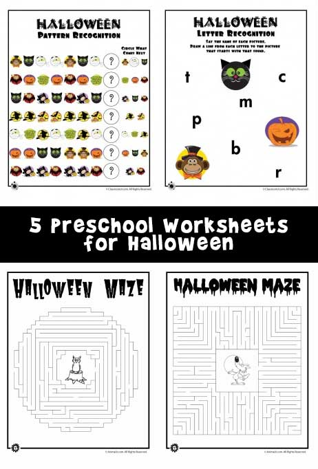 5 Preschool Worksheets for Halloween