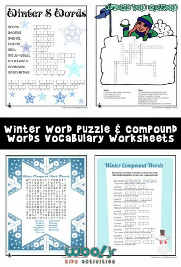 Winter Word Puzzles & Compound Words Vocabulary Worksheets