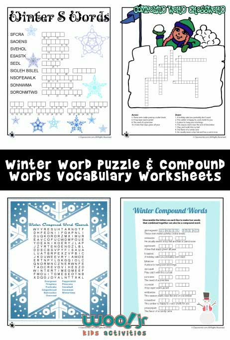 Winter Word Puzzles Amp Compound Words Vocabulary Worksheets
