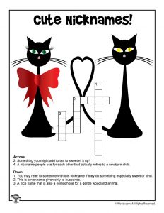 Cute Nicknames Crossword for Kids