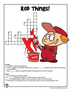 Things That are Red Crossword to Print