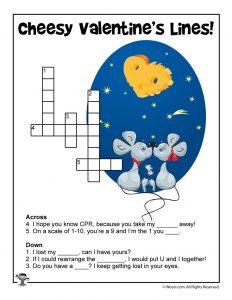 Cheesy Valentine's Day Lines Crossword Puzzle