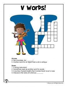 V Words Crossword Puzzle for Kids