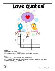 Love Quotes Printable Crossword