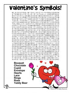 Valentine's Day Symbols Word Search