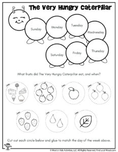 The Very Hungry Caterpillar Days of the Week Cutout Worksheet