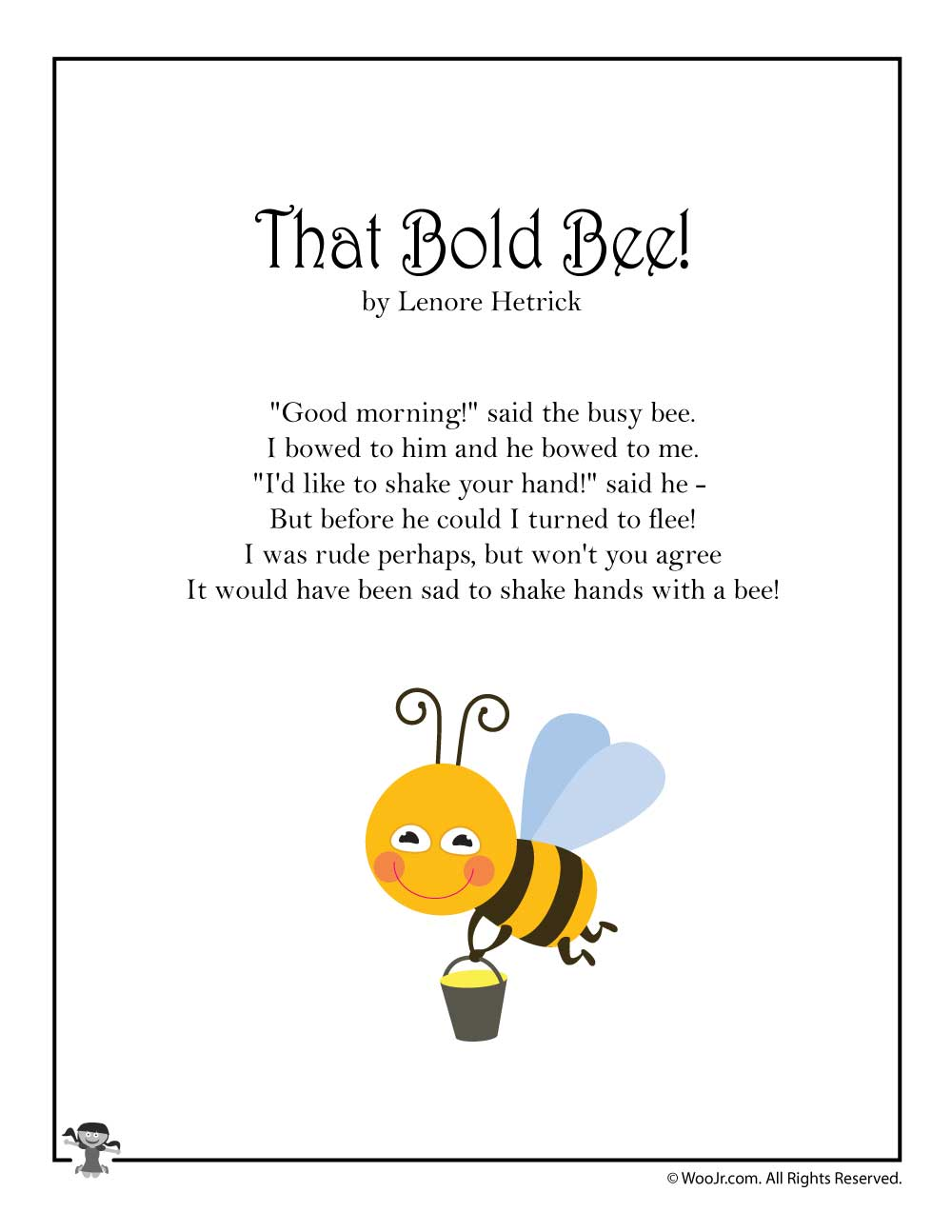 That Bold Bee Childrens Poetry