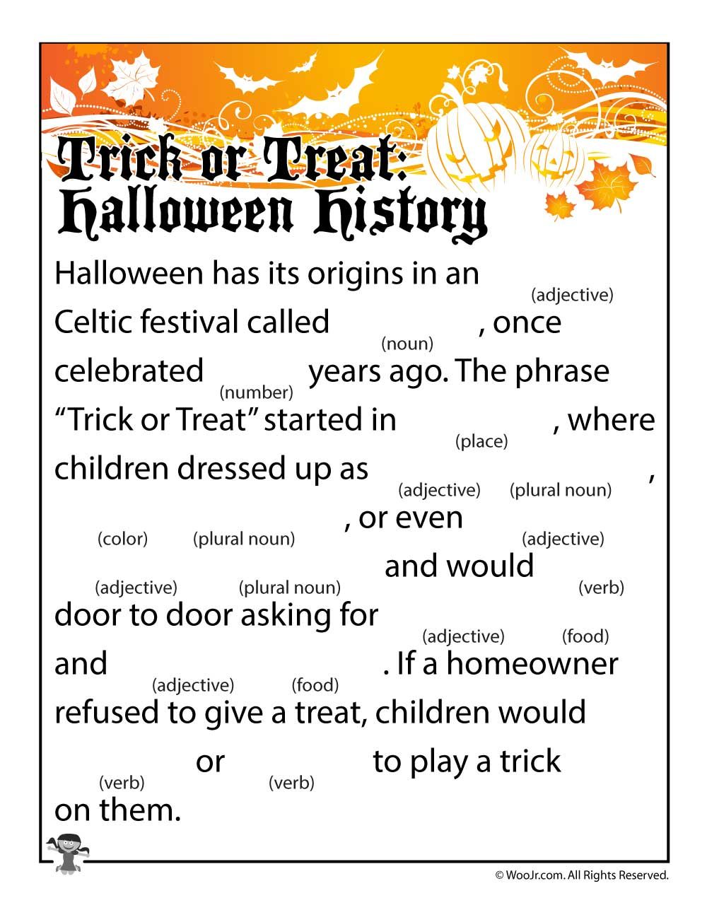 Trick or Treat Halloween History Mad Lib - Woo! Jr. Kids Activities