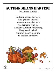 Autumn Means Harvest Children's Poetry