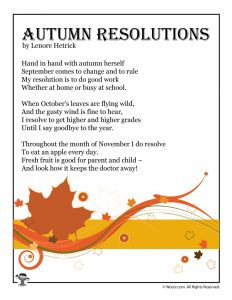 Autumn Resolutions Poem for Kids