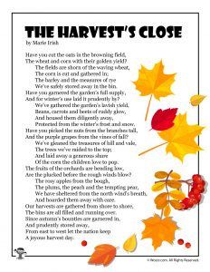 The Harvest's Close Fall Kids Poem
