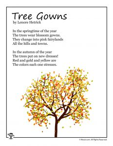 Tree Gowns Fall Kids Poem