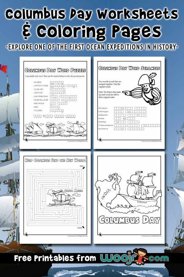 Columbus Day Worksheets and Coloring Pages
