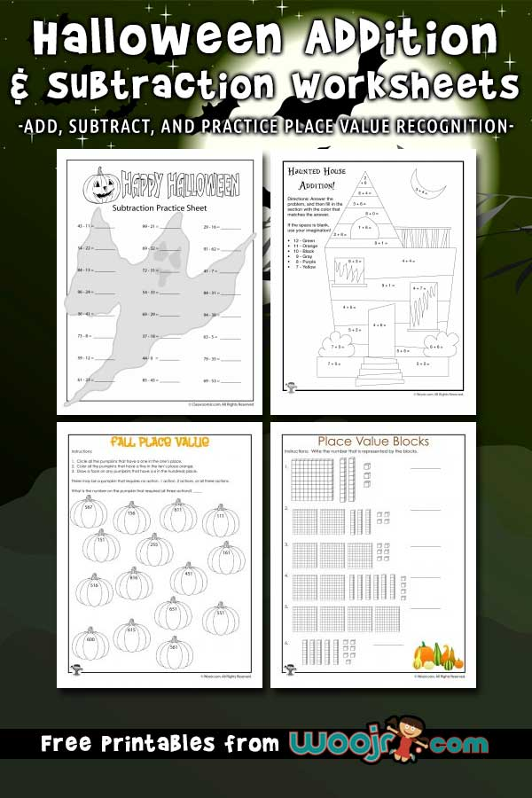 Halloween Addition And Subtraction Worksheets Woo! Jr. Kids Activities