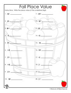 Fall Apples Place Value Recognition Worksheet