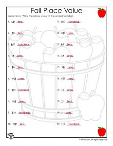 Fall Apples Place Value Recognition Worksheet Answer Key