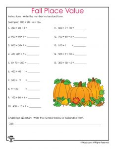 Fall Place Values Worksheet