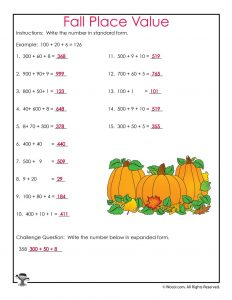 Fall Place Values Worksheet Answer Key