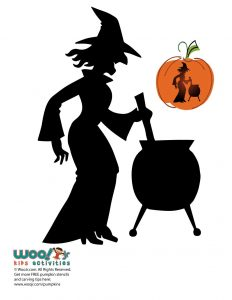 Witch and Cauldron Silhouette Pumpkin