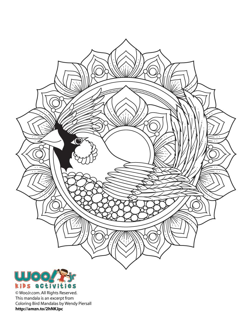 Cardinal Bird Mandala Adult Coloring Page | Woo! Jr. Kids ...