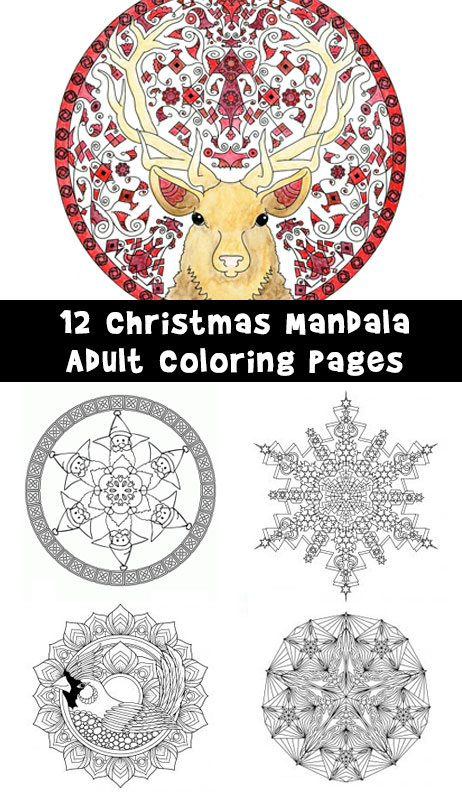 12 Christmas Mandala Adult Coloring Pages