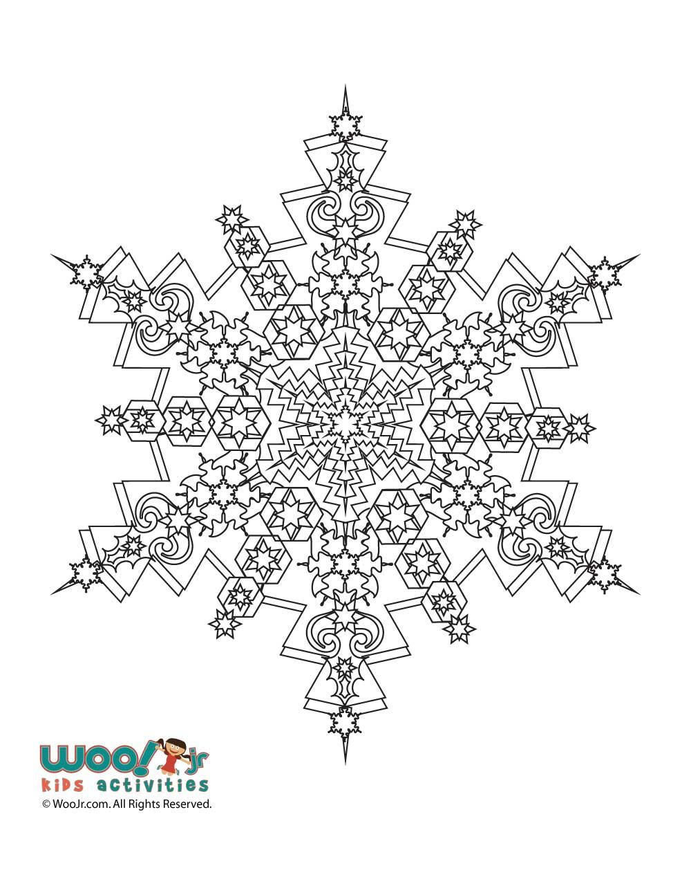 Snowflake Mandala Winter Adult Coloring Page | Woo! Jr. Kids Activities
