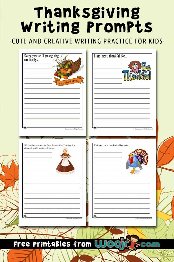 picture relating to Printable Thanksgiving Pictures titled Printable Thanksgiving Composing Prompts Woo! Jr. Little ones