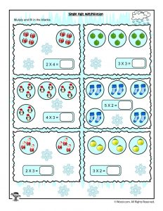 Single Digit Visual Counting Multiplication Worksheet