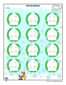Single Digit Christmas Multiplication Worksheet