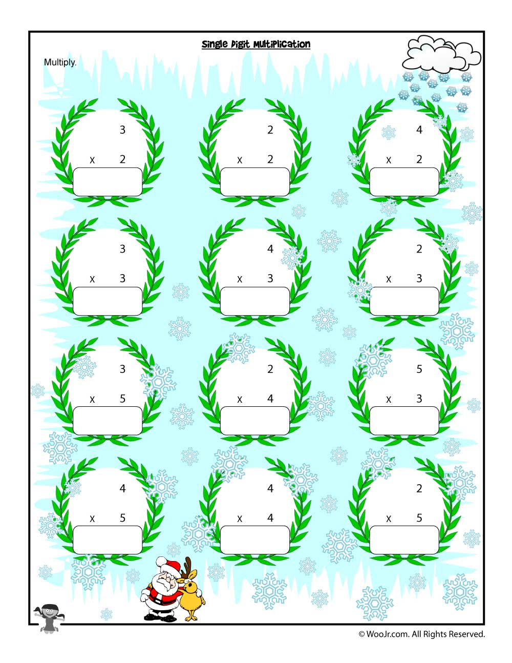 Single Digit Christmas Multiplication Worksheet | Woo! Jr. Kids ...