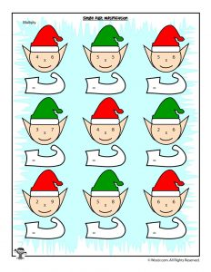 Christmas Single Digit Multiplication Worksheet