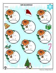 Double x Single Digit Multiplication Christmas Worksheet