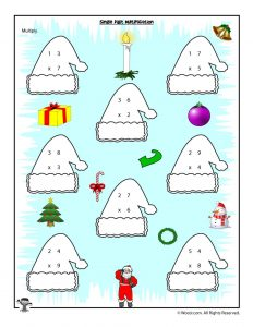 Single Digit Multiplication Christmas Worksheet