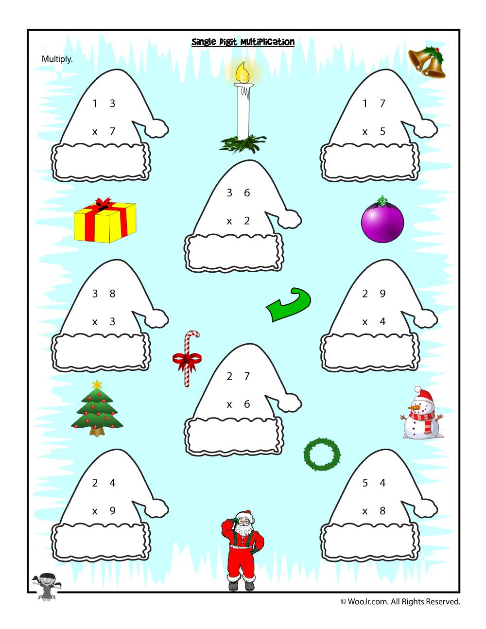 Single Digit Multiplication Christmas Worksheet | Woo! Jr. Kids ...