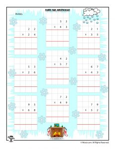 Double Digit Multiplication Christmas Worksheet