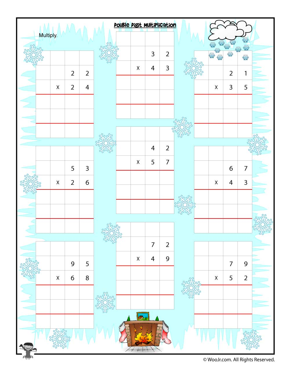 Double Digit Multiplication Christmas Worksheet | Woo! Jr. Kids ...