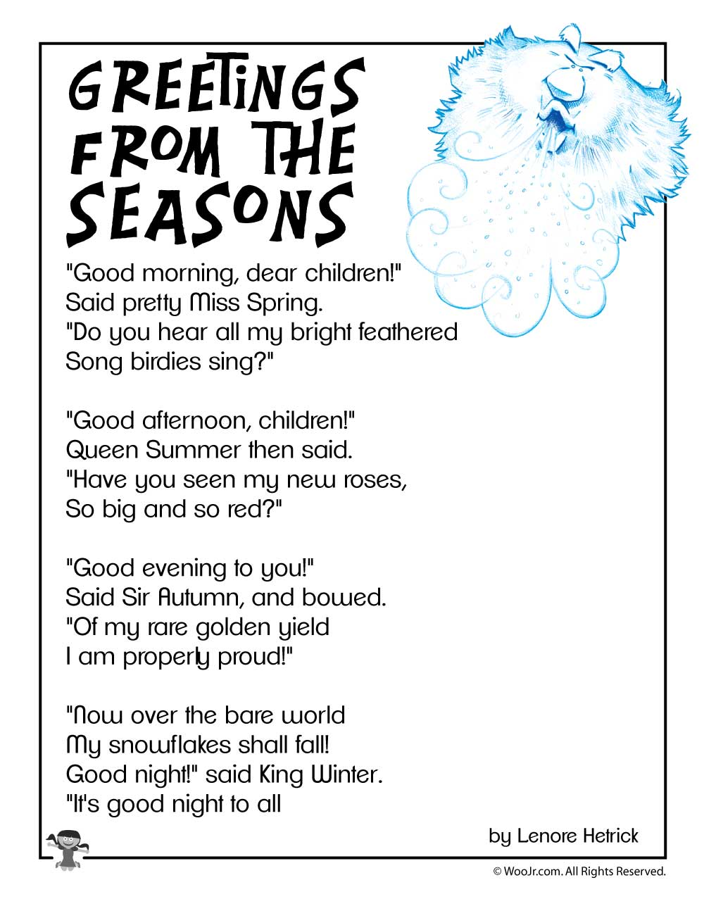 Greetings from the seasons childrens poetry woo jr kids activities use our special click to print button to send only the image to your printer m4hsunfo
