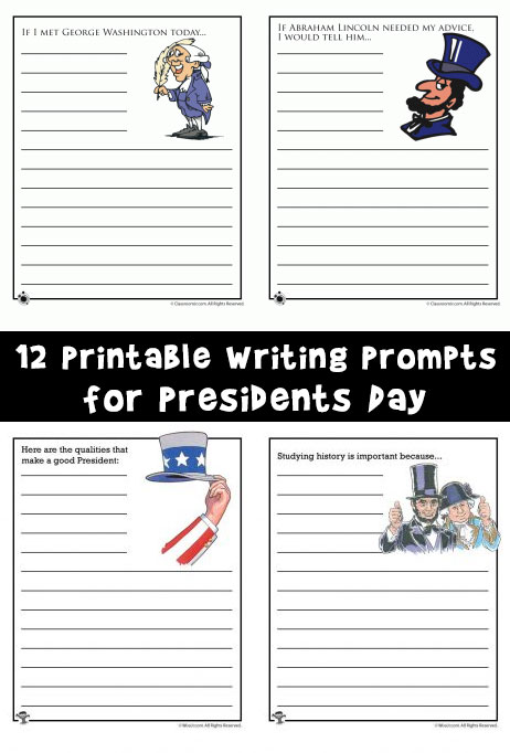 12 Printable Writing Prompts for Presidents Day