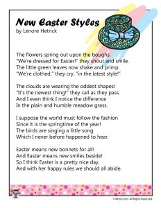 New Easter Styles Printable Kids Poem