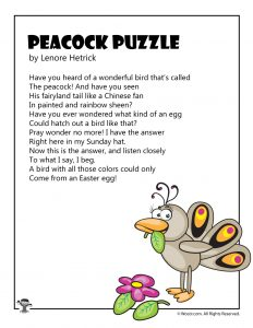 Peacock Puzzle Easter Eggs Poem