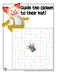 Clown April Fools Maze for Kids