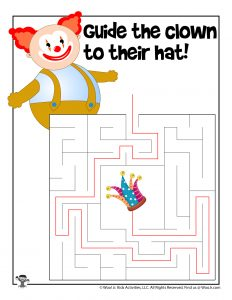 Clown April Fools Maze for Kids - KEY