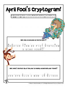 April Fools Day Cryptogram Puzzle