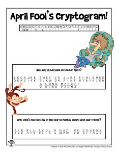 April Fools Day Cryptogram Puzzle - KEY